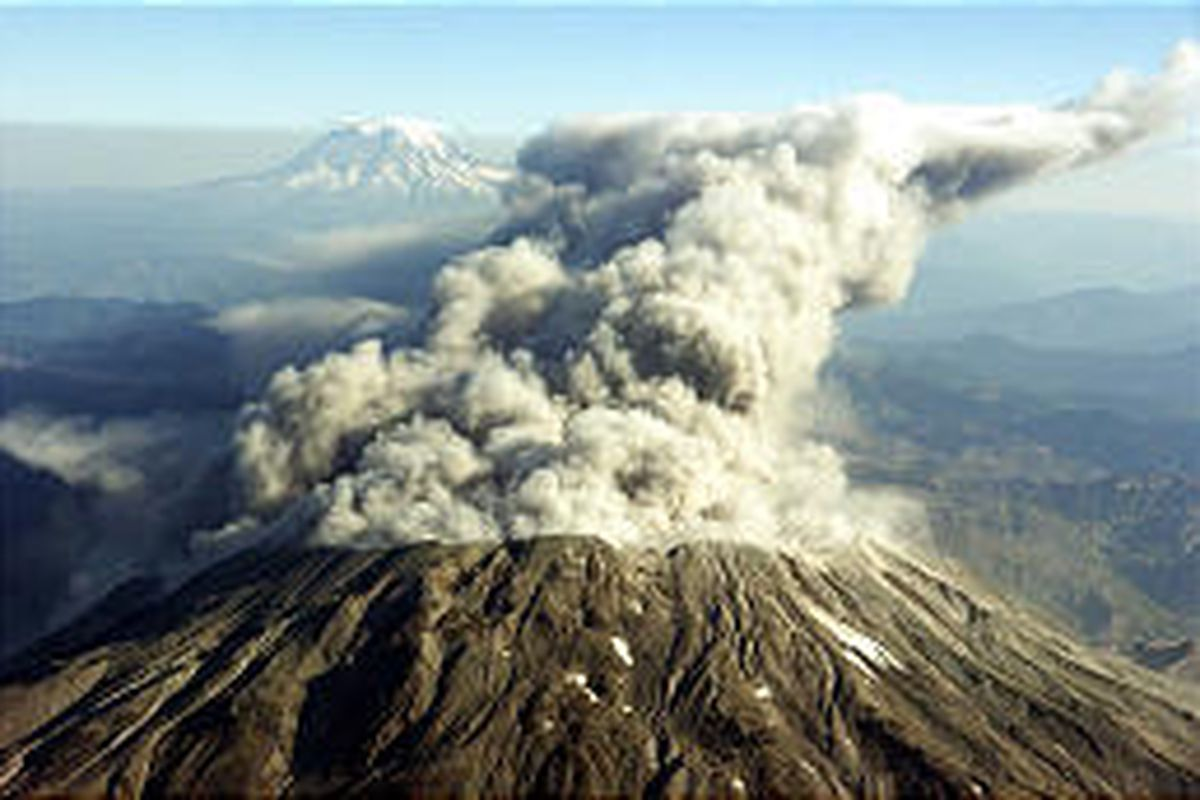 Mount St. Helens erupts with steam, dust and ash Tuesday morning, sending a billowing cloud thousands of feet above the crater.