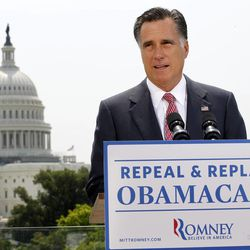 FILE - In this June 28, 2012 file photo, Republican presidential candidate Mitt Romney speaks about the Supreme Court ruling on health care in Washington.