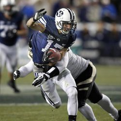 Brigham Young Cougars wide receiver Skyler Ridley (17) as BYU plays Idaho in the Cougar's final home football game on 2012 Saturday, Nov. 10, 2012,in Provo, Utah.