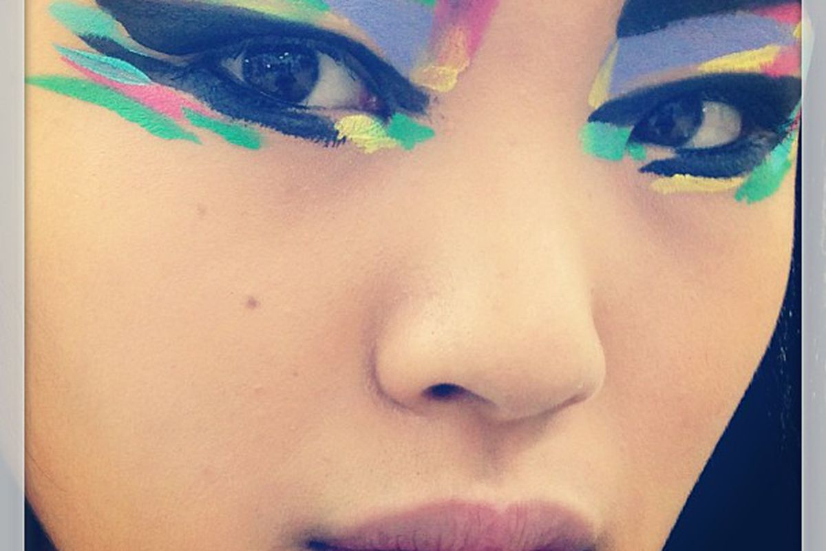 "The eye makeup at Chanel. Photo via Allure/<a href=""http://instagram.com/p/e67_6pqIAg/#"">Instagram</a>."