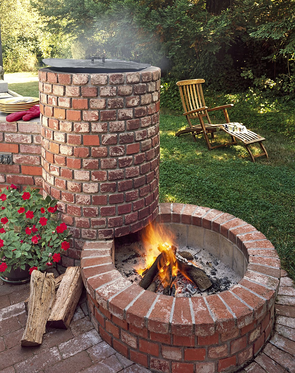 Brick barbecue fire pit on a patio.