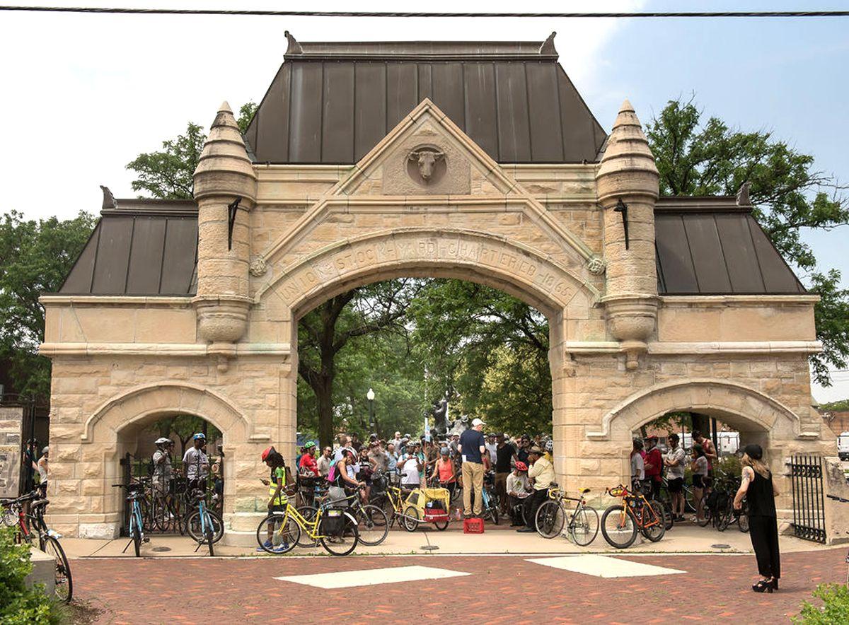 The Union Stockyard gate, near Peoria Street and Exchange Avenue.