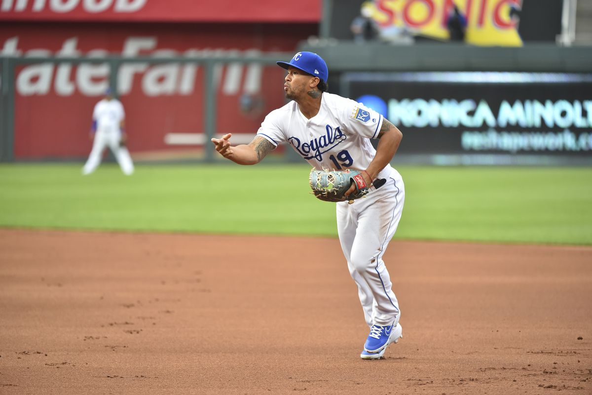 First baseman Cheslor Cuthbert #19 of the Kansas City Royals in action against the Cleveland Indians at Kauffman Stadium on July 25, 2019 in Kansas City, Missouri.