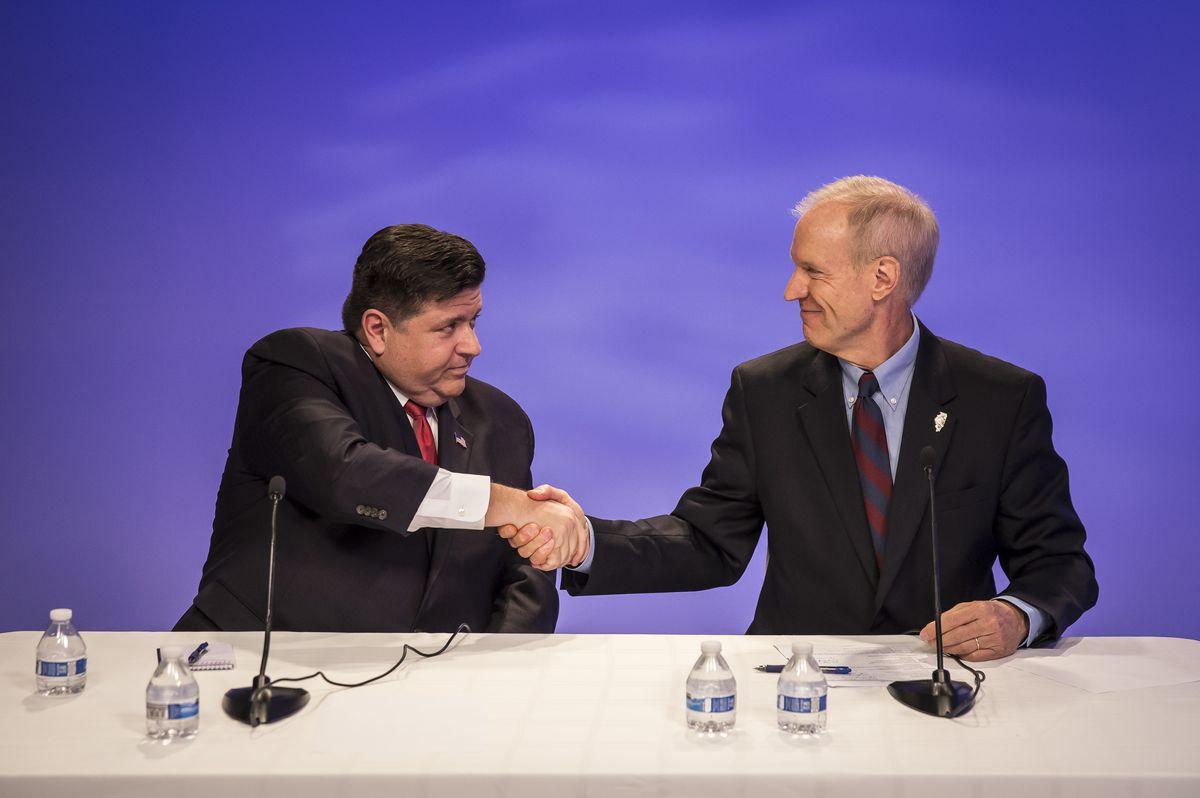 Gov. Bruce Rauner (right) and Democrat J.B. Pritzker | Rich Hein/Sun-Times