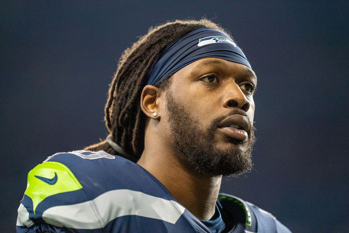 Seattle Seahawks defensive end Jadeveon Clowney before the game against the San Francisco 49ers at CenturyLink Field.