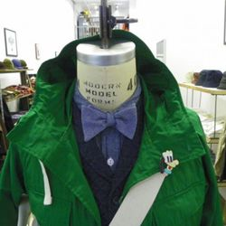 """Engineered Garments vest, shirt, bow-tie, and bag. Image via <a href=""""http://nepenthesnewyork.blogspot.com/search/label/Styling"""" rel=""""nofollow"""">Nepenthes</a>."""