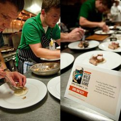 Erik Van Kley's rabbit dish, with the tiniest rack of ribs ever.