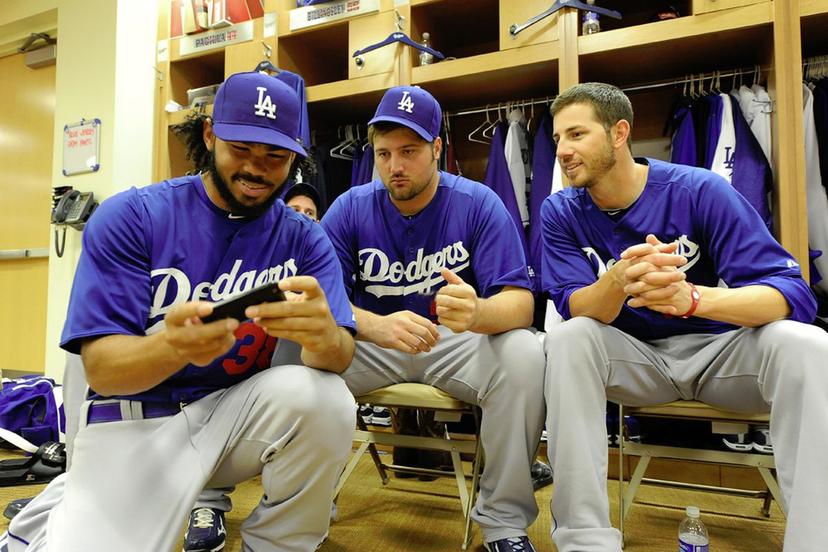 Jon Garland and Jonathan Broxton are scheduled to pitch tonight for the Dodgers, while Ramon Troncoso, who pitched Wednesday, is scheduled to play Angry Birds. (<em>Photo: Jon SooHoo | LA Dodgers</em>)