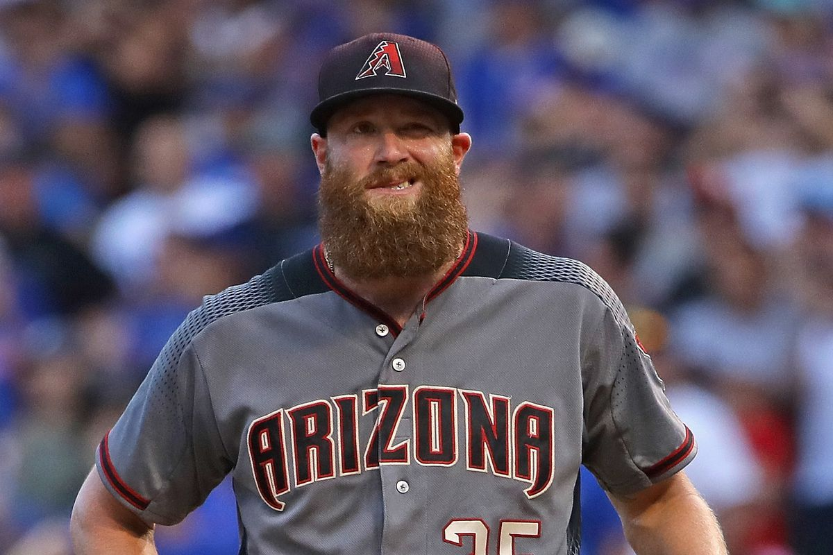 Archie Bradley standing on the mound with his hands on his hips