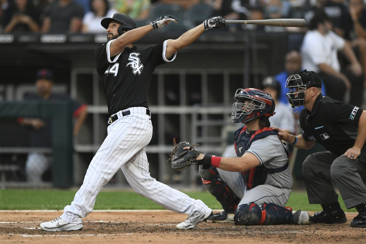 The White Sox's Seby Zavala watches his grand slam during the fourth inning of Saturday's game against the Indians.