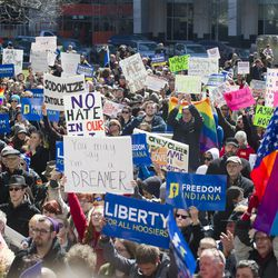 """Thousands of opponents of Indiana Senate Bill 101, the Religious Freedom Restoration Act, gathered on the lawn of the Indiana State House to rally against that legislation Saturday, March 28, 2015.  Republican Gov. Mike Pence signed a bill Thursday prohibiting state laws that """"substantially burden"""" a person's ability to follow his or her religious beliefs."""