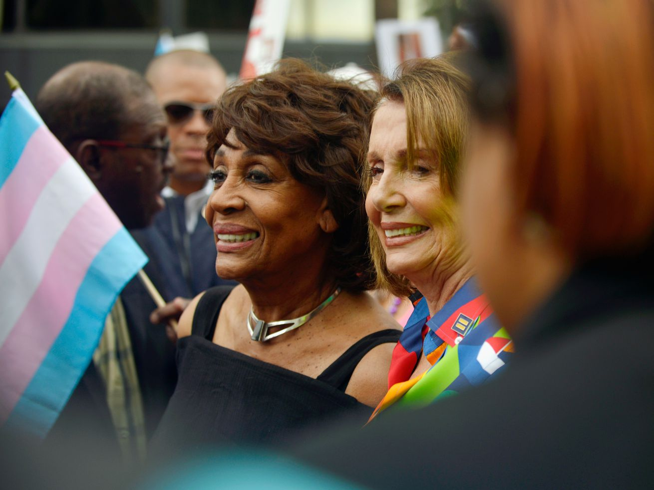 Reps. Maxine Waters (left) and Nancy Pelosi at the the LA PrideResistMarch on June 11, 2017.