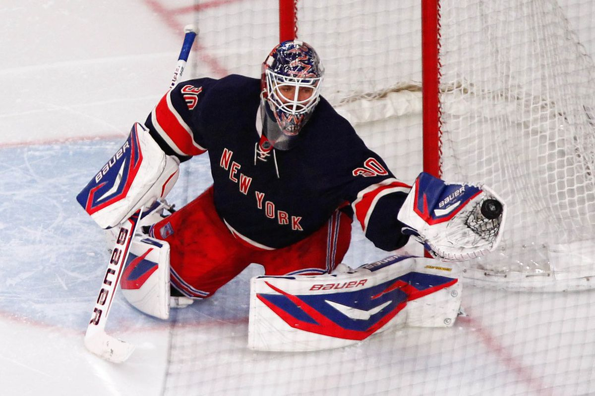 Apr. 1, 2012; New York, NY, USA; New York Rangers goalie Henrik Lundqvist (30) makes a glove save during the third period against the Boston Bruins at Madison Square Garden. Bruins win 2-1. Mandatory Credit: Debby Wong-US PRESSWIRE