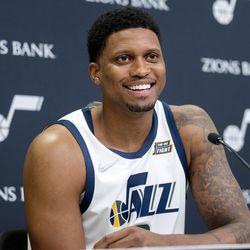 Utah Jazz forward Rudy Gay (8) smiles as he talks during Utah Jazz media media day at Vivint Arena in Salt Lake City on Monday, Sept. 27, 2021.