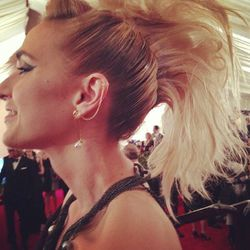 """The best (only) <a href=""""http://instagram.com/p/Y_PgZCSSG8/"""">faux-hawk</a> we've seen so far is on Vogue Editor-at-Large Elisabeth von Thurn und Taxis."""