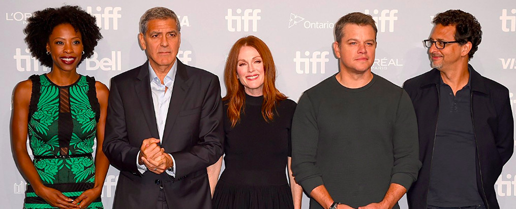"""Karimah Westbrook (from left), director George Clooney, stars Julianne Moore and Matt Damon, and producer Grant Heslov from """"Suburbicon."""" 