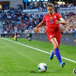 September 3, 2019 - Saint Paul, Minnesota, United States - USA forward Carli Lloyd (10) dribbles the ball into the corner during the USA World Cup Victory Tour match against Portugal at Allianz Field.