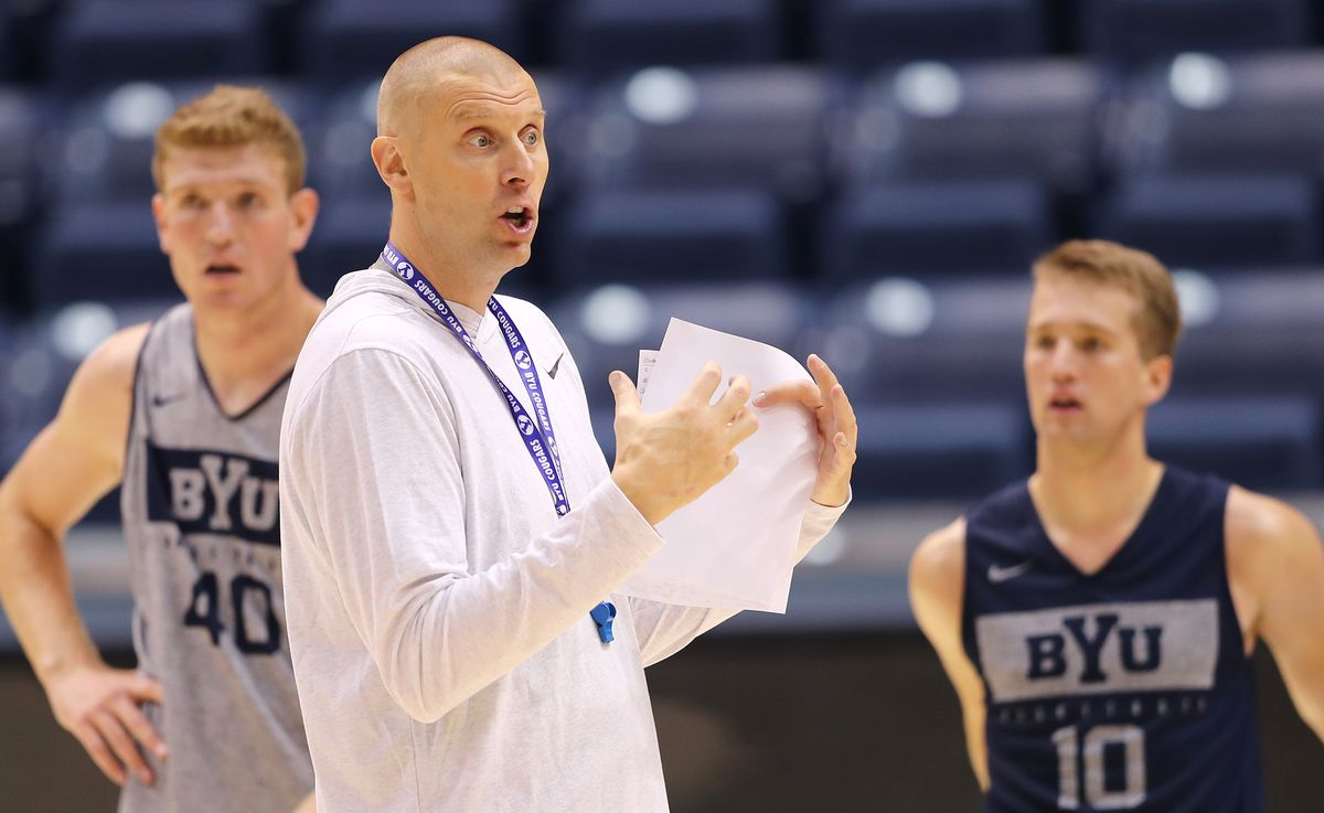 BYU basketball opens the season with its first practices with new head coach Mark Pope and staff at the Marriott Center in Provo on Tuesday, Sept. 24, 2019.