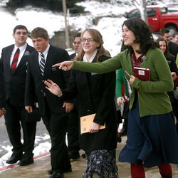 Missionaries leave the Missionary Training Center following a devotional by Elder Russell M. Nelson on Tuesday.