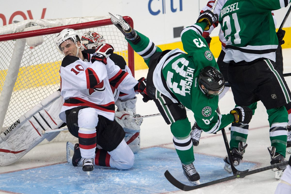 Ales Hemsky has been hurt and Peter Harrold isn't even a Devil anymore. Still, this picture must be used.