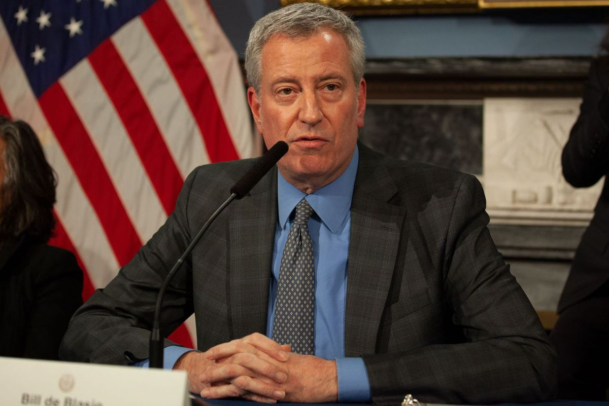 Mayor Bill de Blasio speaks about signing a state of emergency at City Hall to help respond to the coronavirus.