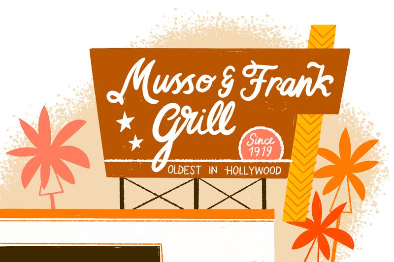 An brown geometric Musso & Frank Grill sign on a building top surrounded by abstract palm trees. Illustration.