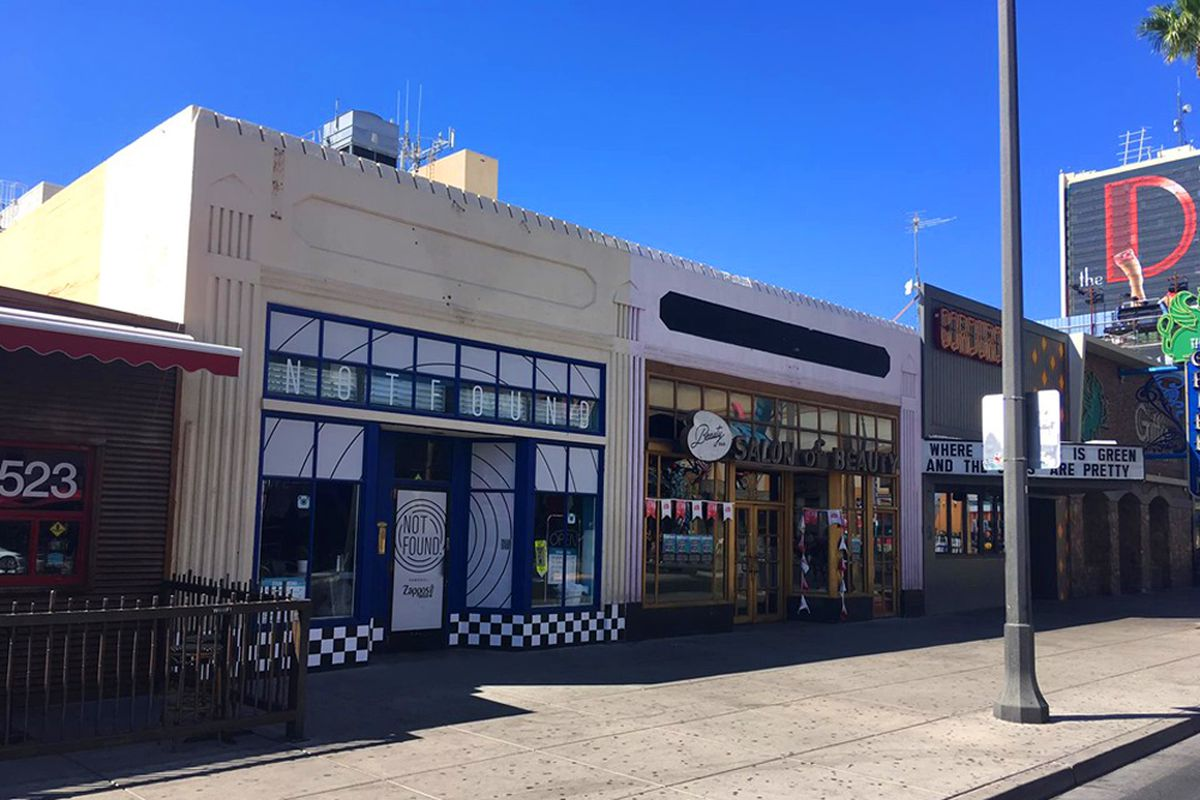 The exterior of two new projects coming to Fremont East, Cheap Shot and We All Scream.