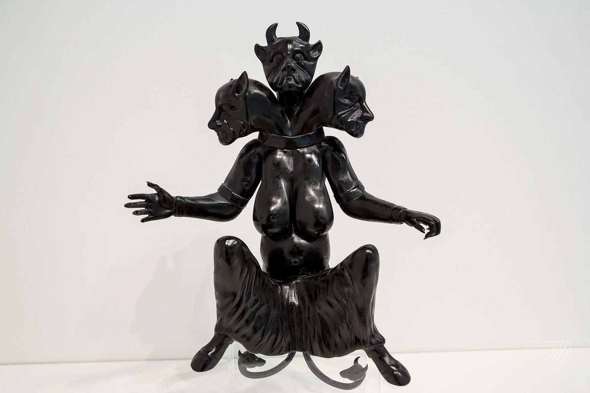 """3D printed in resin, the Huma (2017) sculpture stands at 12 inches tall. Huma is said to """"bring heat to the human body and is a symbol of high temperature, madness and hallucination."""" The figure on view as part of Morehshin Allahyari's project, She Who See's The Unknown at the Upfor Gallery booth at the Armory Art Fair in New York City."""