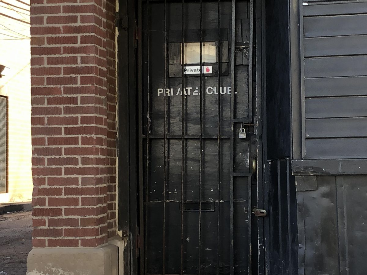 The entrance of a private bar where six people were wounded in a shooting early Sunday morning in the South Shore neighborhood. | Mitch Dudek/Sun-Times