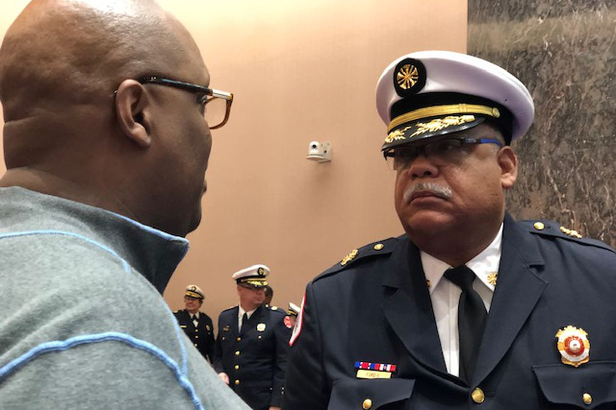 Chicago Fire Commissioner Richard Ford II (right) testified Wednesday at his City Council budget hearing.