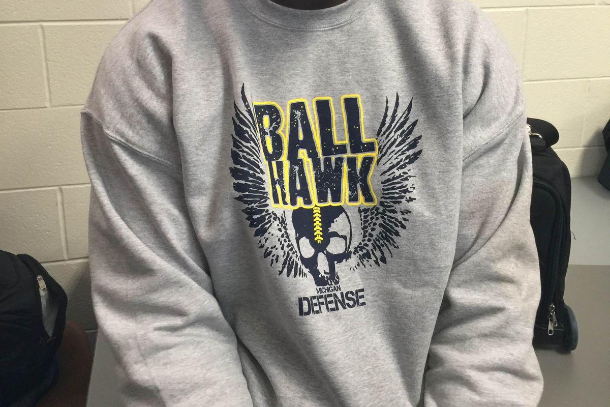 """Lawrence Marshall and his """"Ball Hawk"""" shirt"""