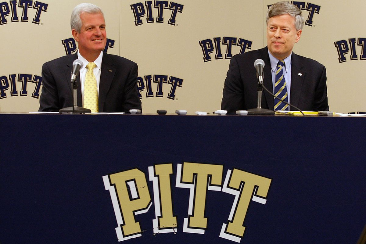 Mark Nordenberg and Steve Pederson will need to reach into the University's pockets to pay the Big East exit fee (Photo by Jared Wickerham/Getty Images)