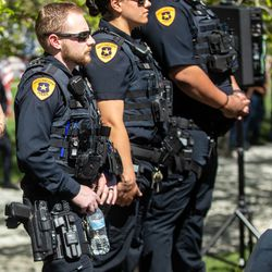 Salt Lake police officers attendthe annual Utah Police Memorial Service at the Capitol in Salt Lake City on Thursday, May 6, 2021. During the service, police officers, family, friends and community leaders honored the 147 Utah police officers killed in the line of duty.