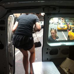Getting out of the Line Relief van.