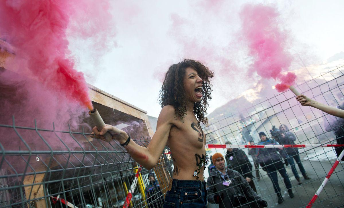 Femen Davos protesters
