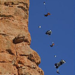 Composite photo shows Neil Amonson BASE jumping from the top of 600-foot-cliffs in Echo Canyon about 60 miles east of Salt Lake City.