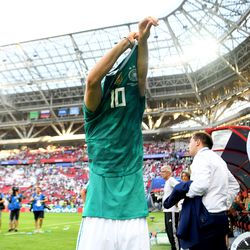 The moment before Özil's confrontation with the Germany fans.