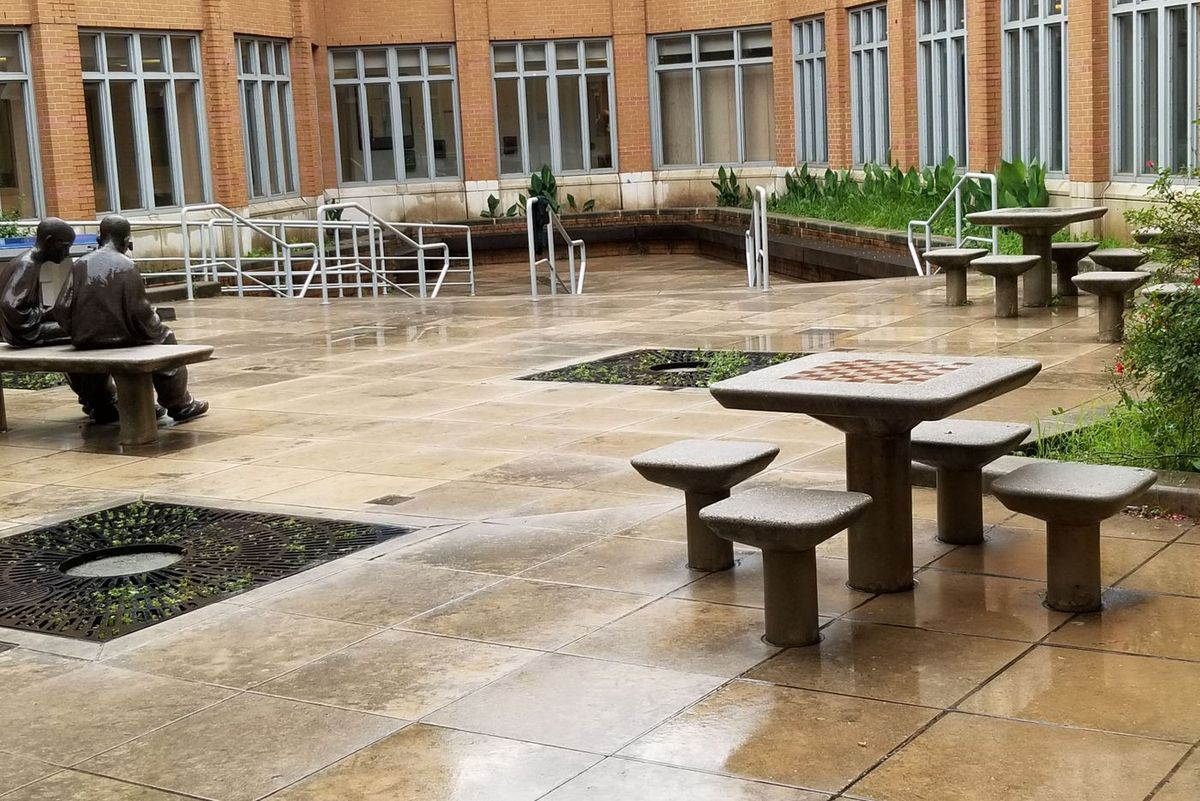 The interior plaza where teens at Horizon Juvenile Center get fresh air.