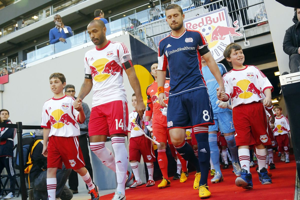 Thierry Henry leads the Red Bulls out for the last time at Red Bull Arena.