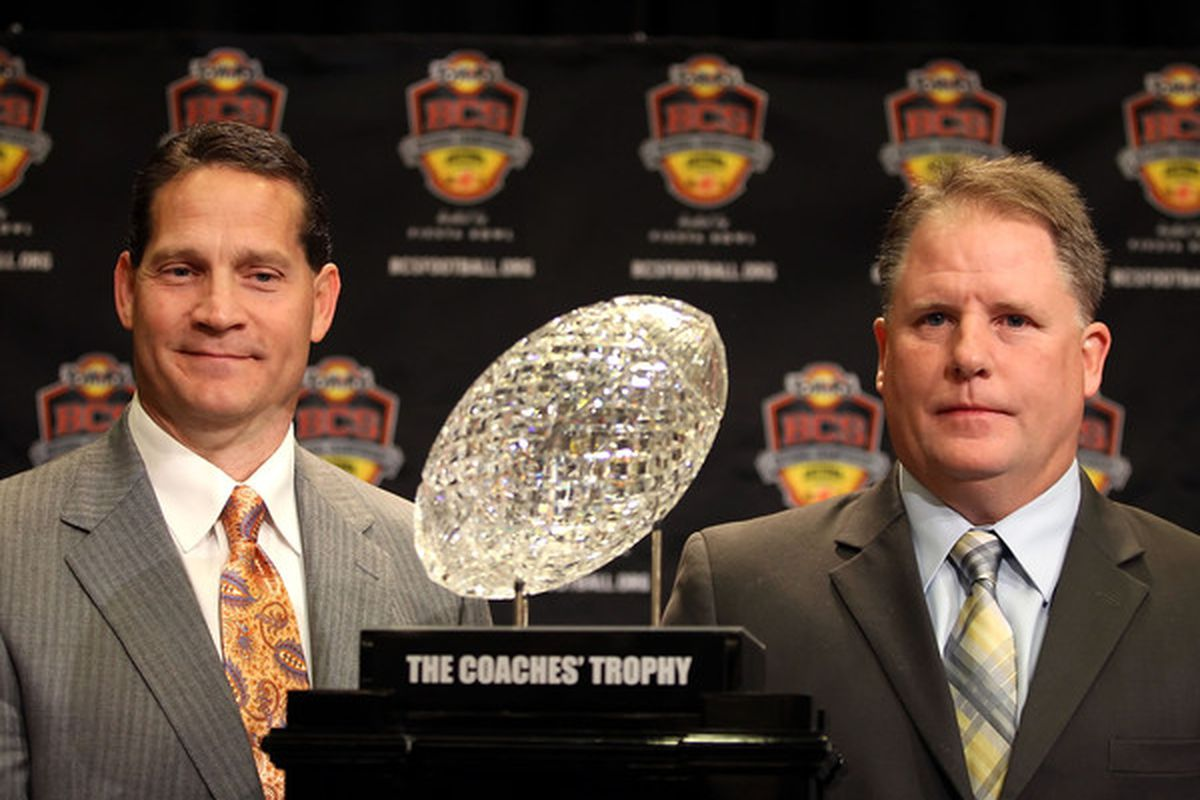 Gene Chizik and Chip Kelly will square off for the crystal football TONIGHT!
