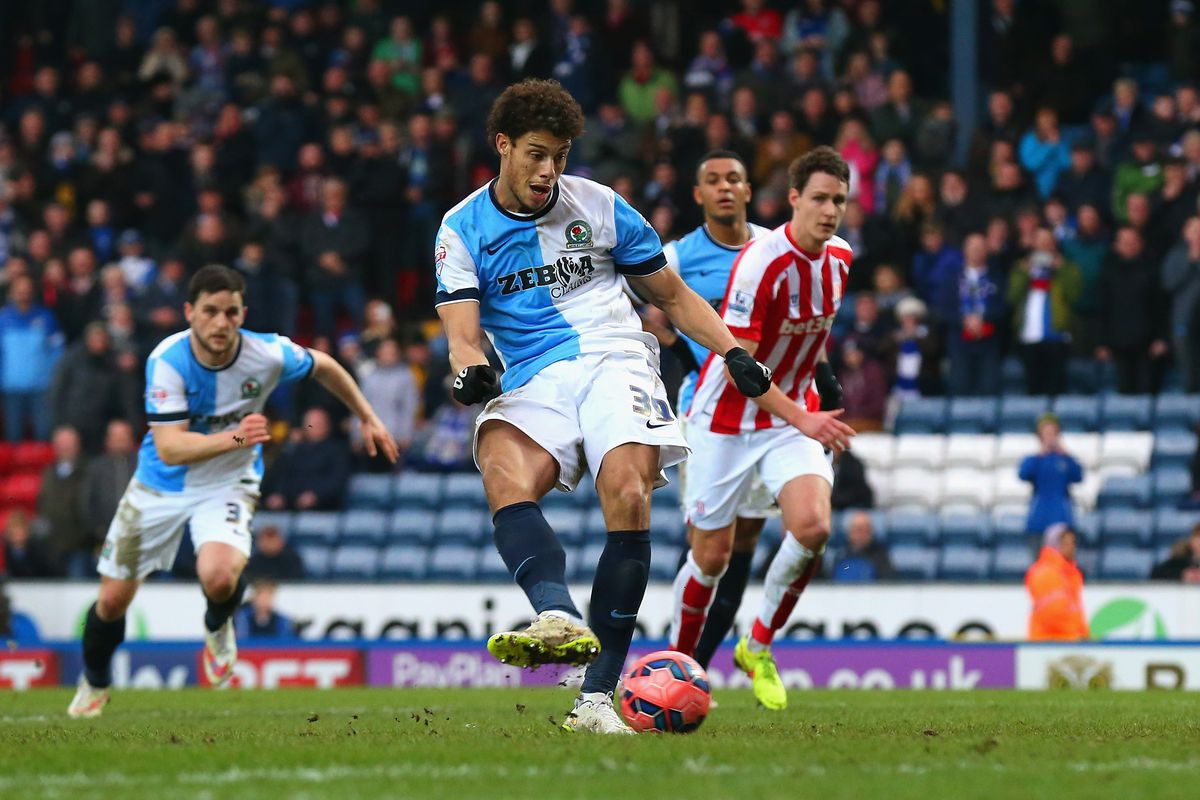 Rudy Gestede of Blackburn scores their second goal from the penalty spot during the FA Cup Fifth Round match between Blackburn Rovers and Stoke City at Ewood Park on February 14, 2015 in Blackburn, England.