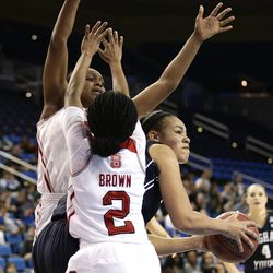 BYU's Morgan Bailey, right, is defended by North Carolina State's Len'Nique Brown, front, and Kody Burke during the first half of a first-round game in the NCAA women's college basketball tournament on Saturday, March 22, 2014, in Los Angeles. (AP Photo/Jae C. Hong)