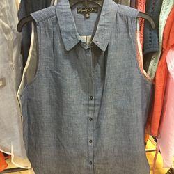 Sleeveless blouse, size large, $49