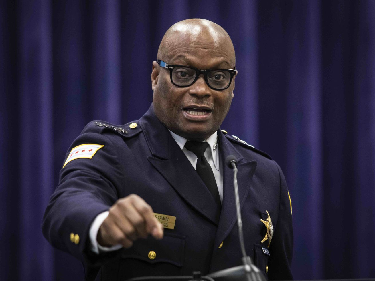 Chicago Police Supt. David Brown answers reporters' questions during a news conference at CPD headquarters on the South Side, Thursday afternoon, April 22, 2021.