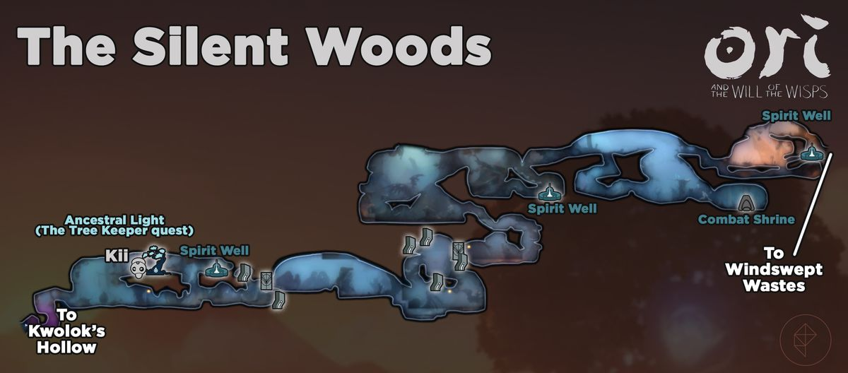 Ori and the Will of the Wisps Silent Woods items and locations map