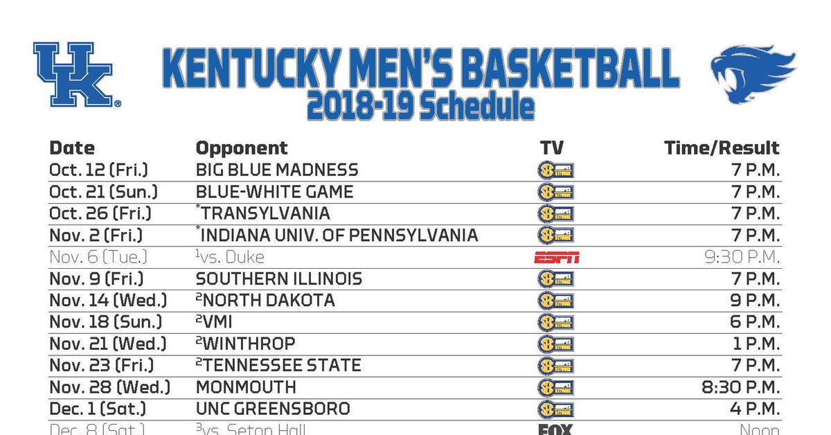 Kentucky Wildcats Basketball Announces Game Times And Tv Channels
