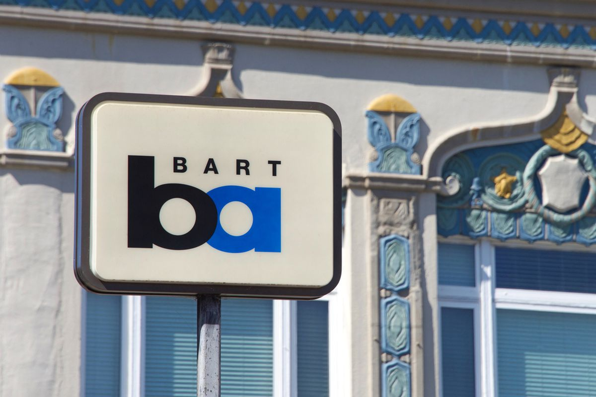 The BART logo on a sign in Oakland.
