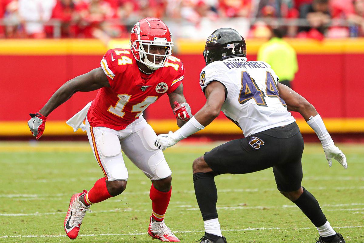 Kansas City Chiefs wide receiver Sammy Watkins runs against Baltimore Ravens cornerback Marlon Humphrey during the second half at Arrowhead Stadium.
