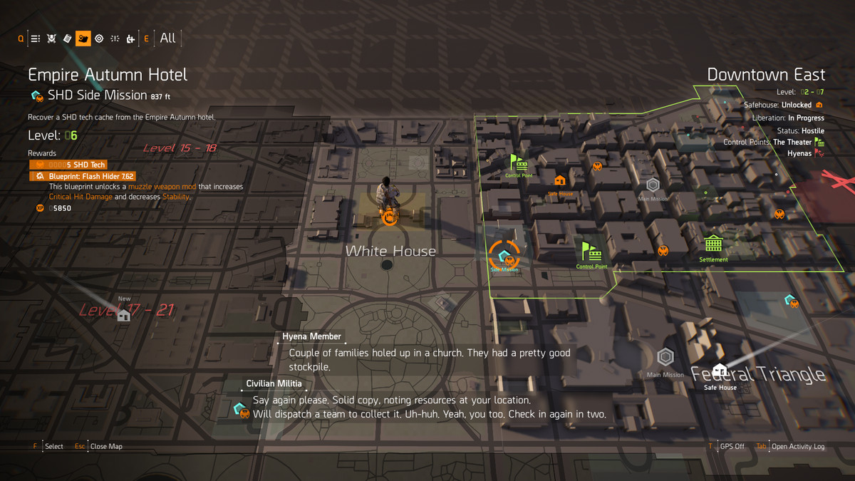 An SHD Side Mission on the map in The Division 2