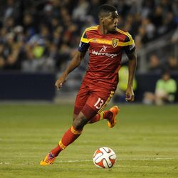 Real Salt Lake's Olmes Garcia looks for an outlet during a game at Sporting Park in Kansas City, Kan., on Saturday, April 5, 2014.